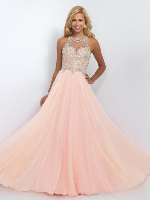 A-line Scoop Floor-length Chiffon Prom Dresses/Evening Dresses #SP5309