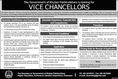 Higher Education (Kpk) Jobs 2019 for Vice chancellors Archives and Libraries Jobs 2019