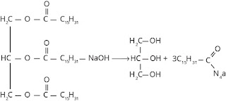 Reaksi hidrolisis ester suku tinggi dengan NaOH atau KOH