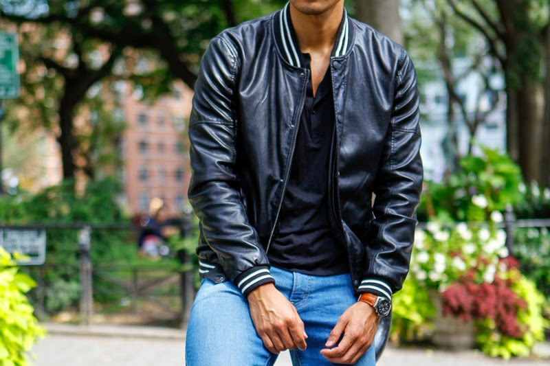 Levitate Style, Leo Chan - Ways to Wear a Leather Jacket Sporty Varsity