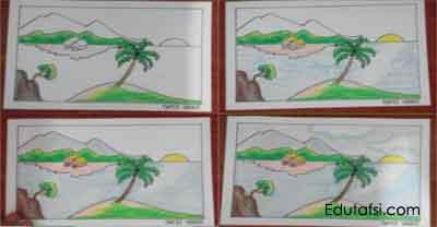Cara Menggambar Pemandangan Laut Menggunakan Oil Pastels