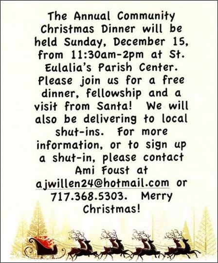 12-15 Annual Christmas Dinner, St. Eulalia Parish Center