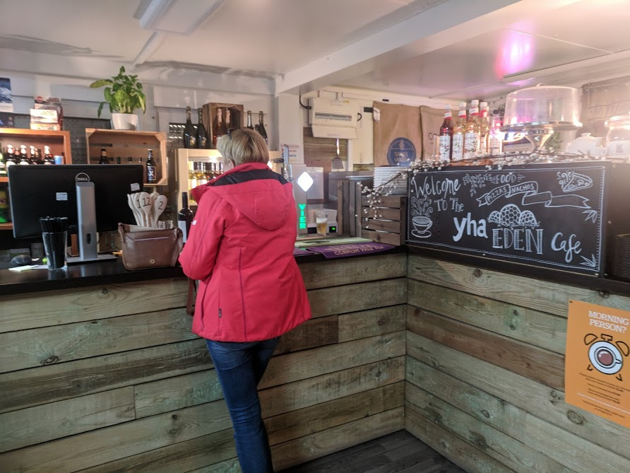Staying in a Recycled Shipping Container at The Eden Project - YHA Eden Project Review  - bar area