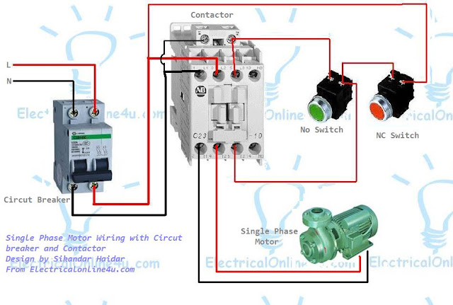 single+phase+motor+wiring+with+contactor+and+circuit+breaker 2 pole contactor wiring diagram pictures to pin on pinterest,Vourakis Gr 2 Pole Contactor Wiring Diagram