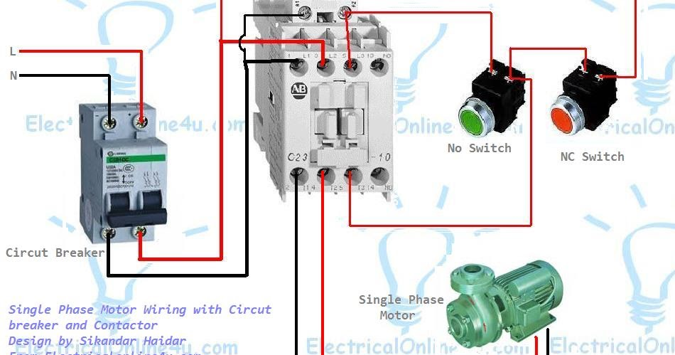 single%2Bphase%2Bmotor%2Bwiring%2Bwith%2Bcontactor%2Band%2Bcircuit%2Bbreaker single phase motor wiring with contactor diagram electrical no nc contactor wiring diagram at crackthecode.co