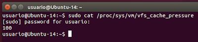 sudo cat /proc/sys/vm/vfs_cache_pressure