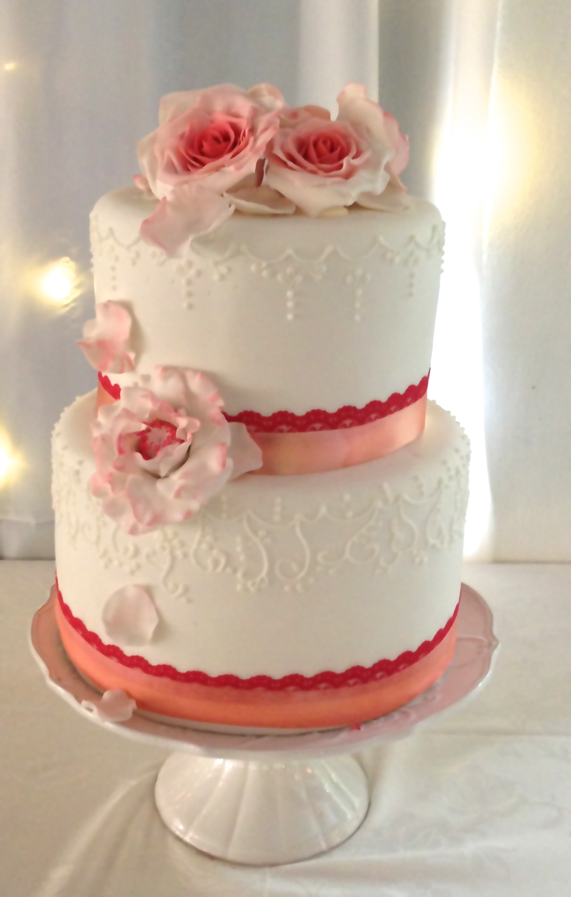 Rozanne S Cakes Coral And White Wedding Cake Stellenbosch