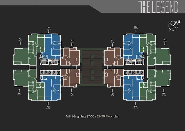 Phối cảnh mặt bằng tầng 27-30 The Legend