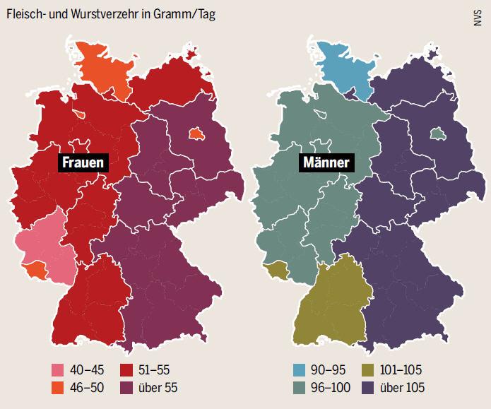 Landkartenblog Deutschlandkarte Fleisch Und Wurstverzehr In