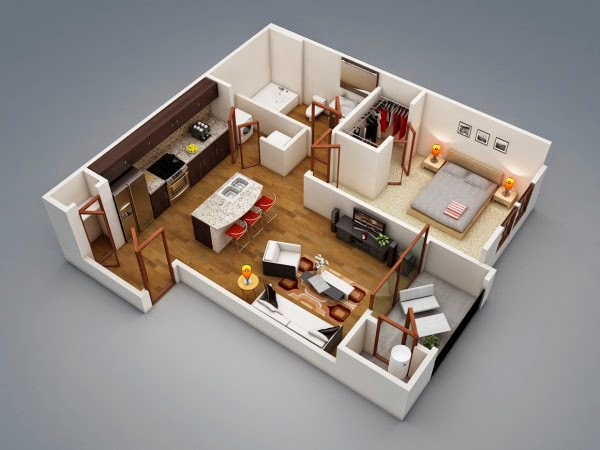 This Article 1 Bedroom Apartment With Open Floor Design By Rishabh Kushwaha Read Now Home Design Minimalist