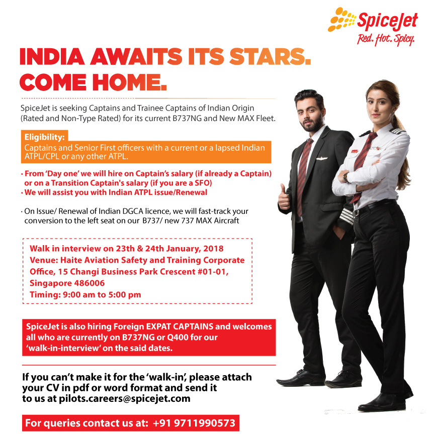 Fly Gosh: SpiceJet Pilot Recruitment 2018 - Walk in