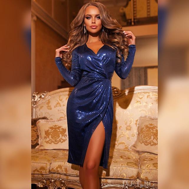 Μακρυμάνικο σκούρο μπλε φόρεμα SABRA