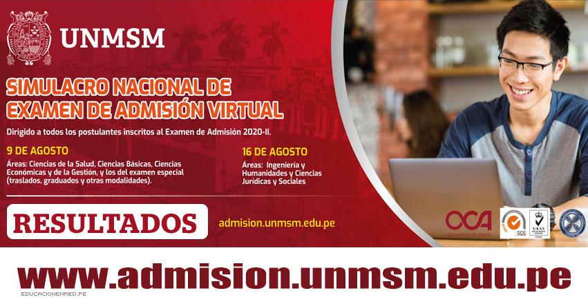 UNMSM: Resultados Simulacro Virtual 2020-2 (Domingo 9 Agosto 2020) Lista de Aprobados - Examen de Admisión - Áreas Ciencias de la Salud - Ciencias Básicas - Ciencias Económicas y de la Gestión - Examen Especial - Universidad Nacional Mayor de San Marcos - www.unmsm.edu.pe