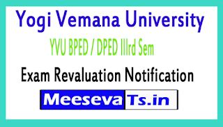 Yogi Vemana University YVU BPED / DPED IIIrd Sem Exam Revaluation Notification 2017