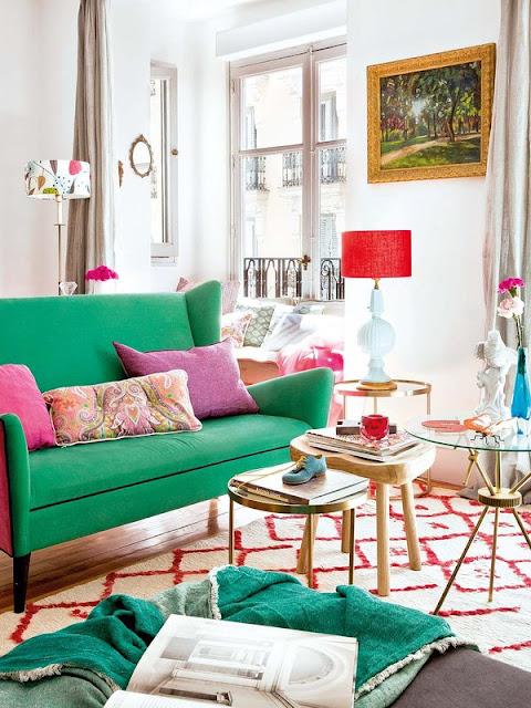 Roz, verde și albastru într-un apartament din Madrid