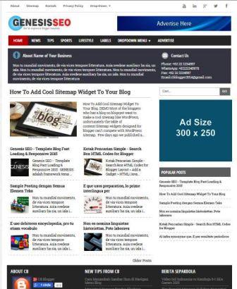 Genesis SEO - Template Blog Fast Loading & Responsive Terbaik