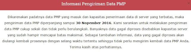 Batas Akhir Pengisian dan Pengiriman Data Aplikasi PMP Diperpanjang sampai 30 November 2016