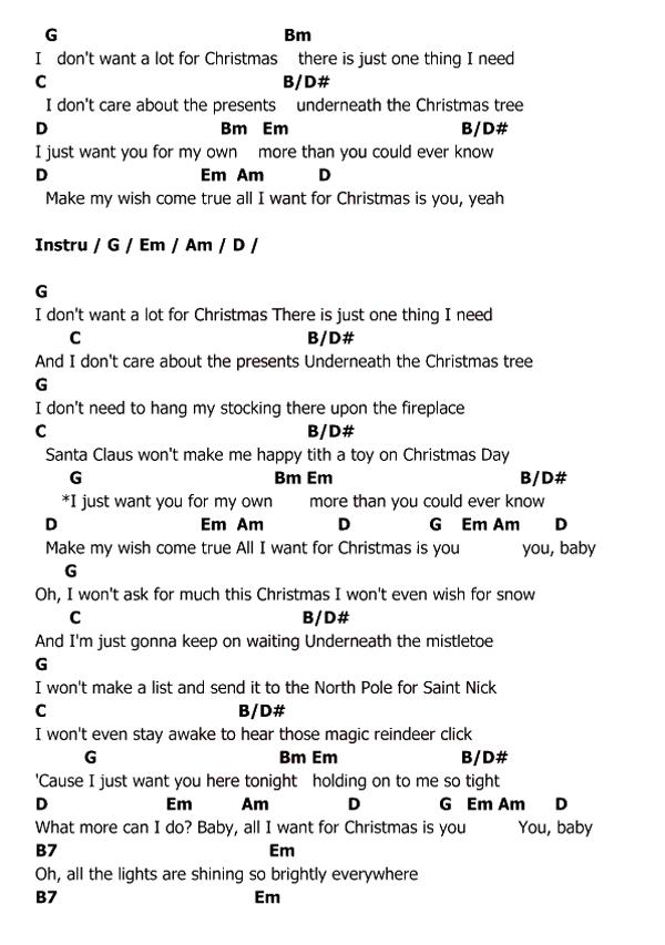 คอร์ด เนื้อเพลง All I Want For Christmas Is You MARIAH CAREY Chordza ...
