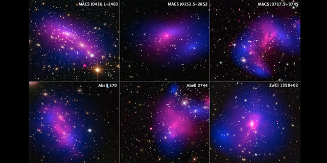 The distribution of dark matter (colored in blue) in six galaxy clusters, mapped from the visible-light images from the Hubble Space Telescope. (Source: NASA, ESA, STScI, and CXC)