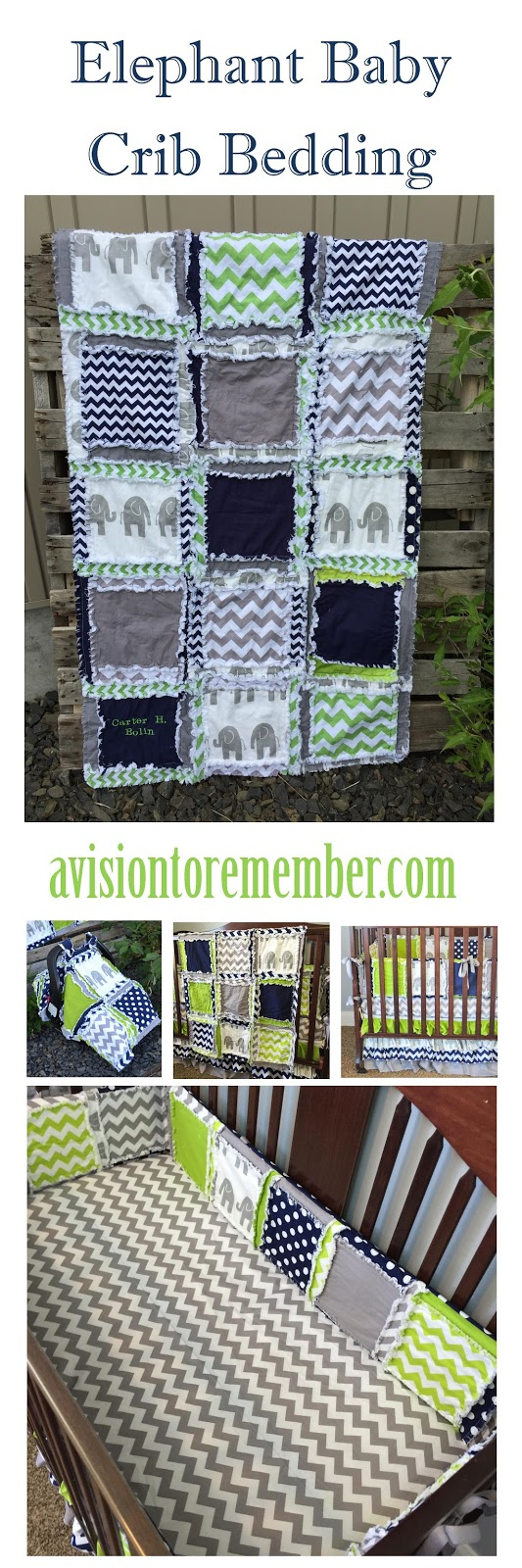 Elephant Baby Crib Bedding by A Vision to Remember