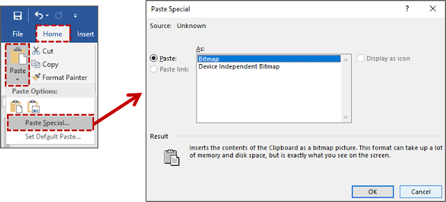 Menempelkan Item atau Konten Yang di Copy atau Cut dalam Format Yang Berbeda