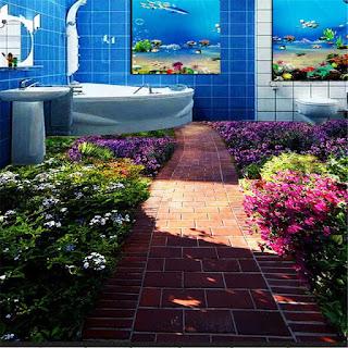 lantai kamar mandi dengan latar taman