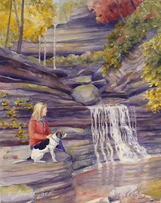 'Lila and Tucker' custom watercolor painting