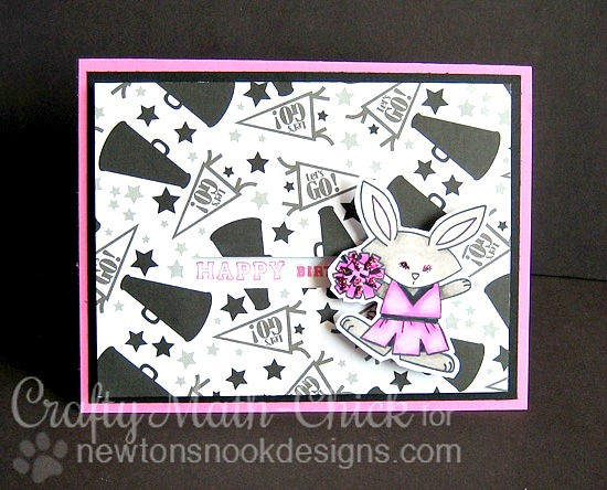 Pink Cheerleader bunny card by Crafty Math-Chick | Snow Day Stamp set by Newton's Nook Designs #newtonsnook