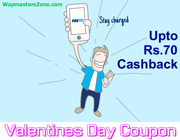 PAYTM Valentines Day 2015 Offer Upto Rs.70 Cashback On Recharges !
