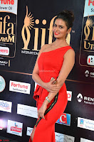 Meenakshi Dixit in Red One Shoulder Red Zipped up gown at IIFA Utsavam Awards002.JPG