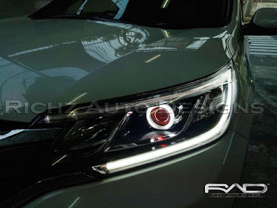 custom angel eyes + devil eyes + drl lexus style , honda crv 2016