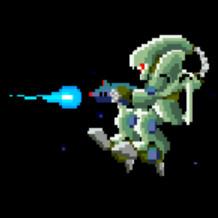敵ロボット。R-TYPEのキャラクター。Linuxでレトロゲームで遊んでみた。