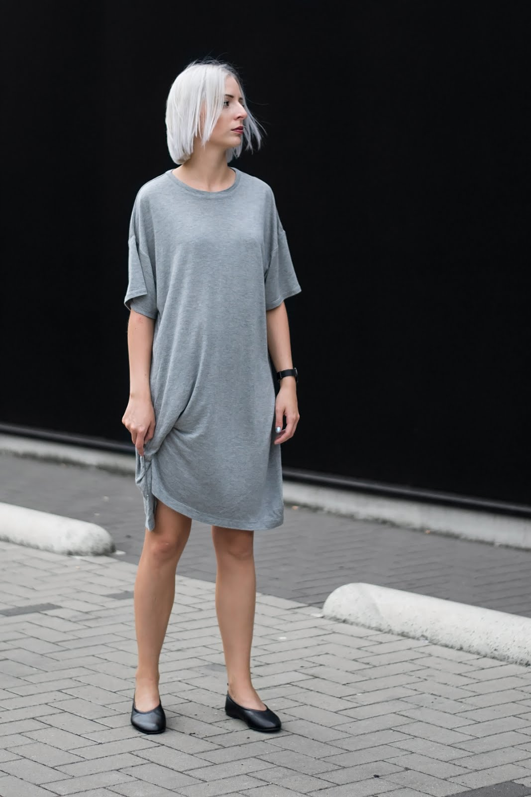 Weekday bryn t-shirt dress, oversized, flattered flats, minimalist, outfit, ss17, grey hair, cluse watch