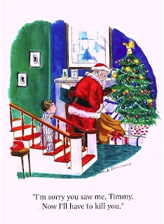 santa delivering presents seen by child funny cartoon