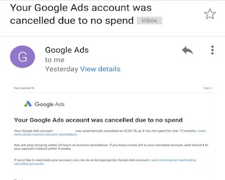 "What is ""Your Google Ads account was cancelled due to no spend"" email?"