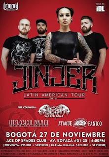 POSTER Concierto de JINJER en Bogotá