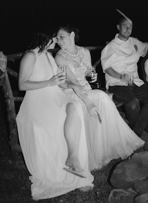 brides during the barn reception at Jonna and Heather's Inn at West Settlement Wedding by Karen Hill Photography