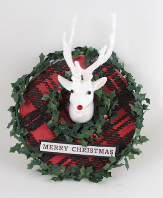 Stampers Anonymous Festive Overlay Tim Holtz Layering Stencil Plaid  Trophy Antlers For The Funkie Junkie Boutique