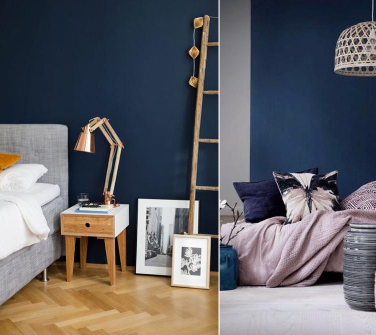 Esempi di camere da letto con una sola parete dipinta di blu