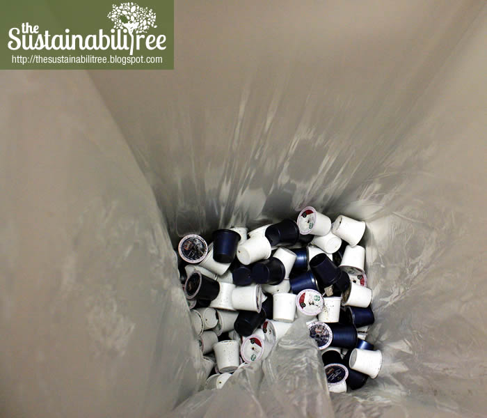 K-Cups in a zero waste bin