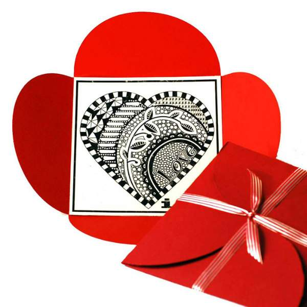 printable Zentangle Valentine's Day card