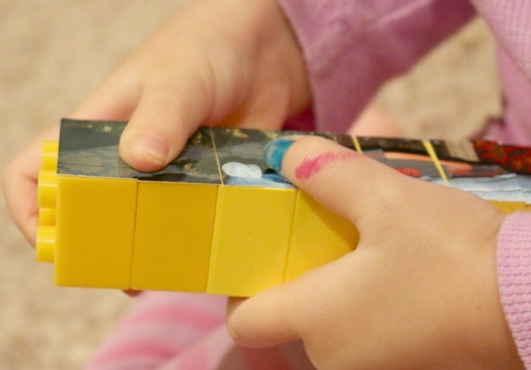 fine motor skills activity using legos