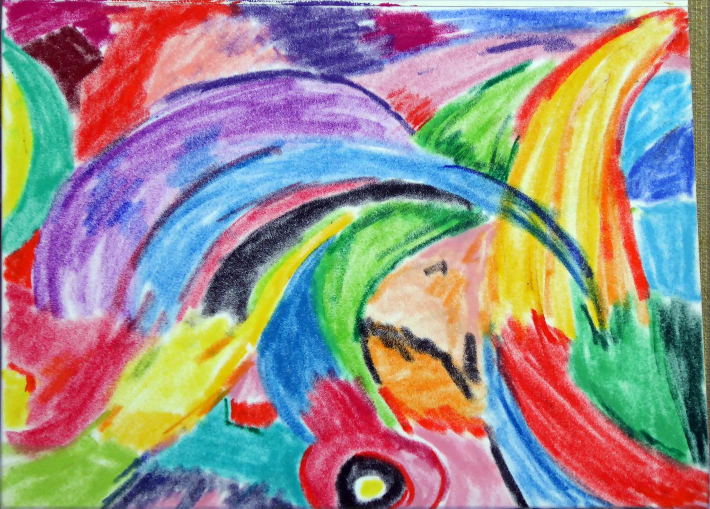 Art de vivre la peinture de peintrefiguratif abstrait n 2 au pastel gras sur papier velours for Peinture pastel gras