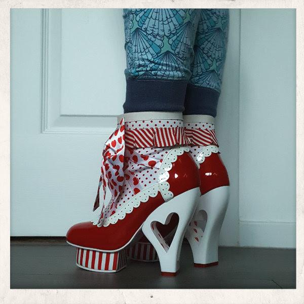 wearing irregular choice rosie with love heart heels