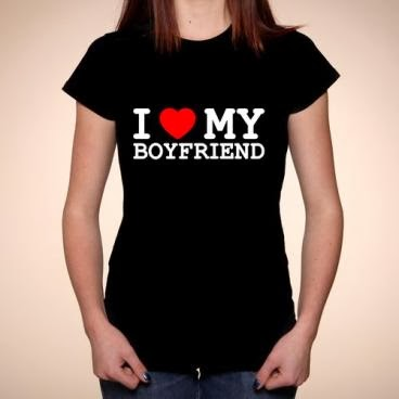 I love my boyfriend T-shirt czarny