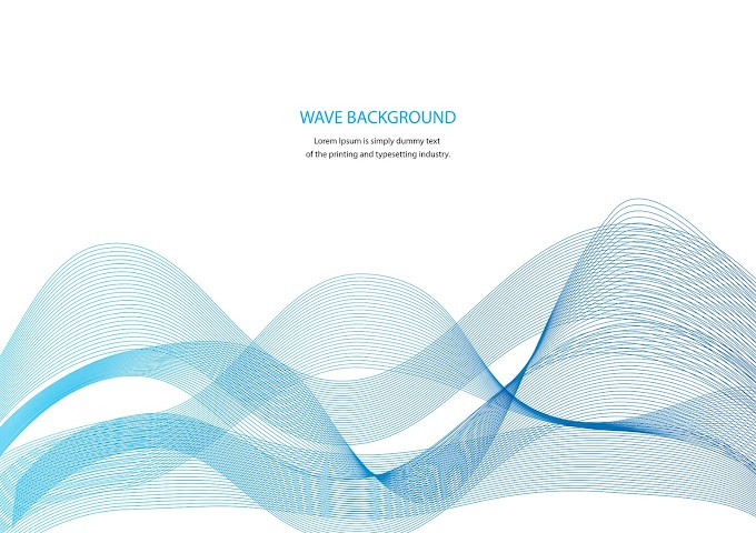 Advertisement Banner with Blue Wavy Shapes free vector download