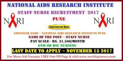 National Aids Research Institute Pune Staff Nurse Recruitment November 2017