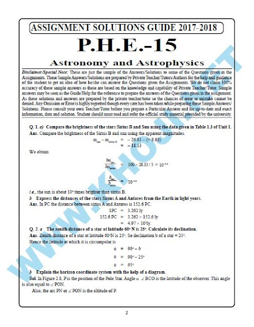 PHE-15 Astronomy and Astrophysics Solved Assignment 2018