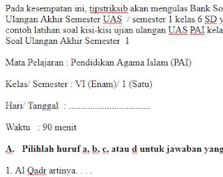 Soal-UKK-UAS-PAI-Kelas-6-SD-Semester-1