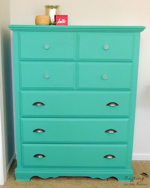 teal dresser makeover - crafting in the rain